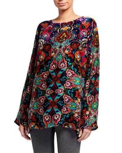 Plus Size Hannah Scarf Print Long-Sleeve Velvet Top