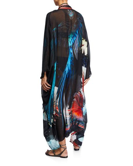 Camilla Printed Silk Coverup with Kimono Collar