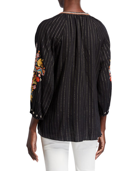 Johnny Was Clansy Metallic Stripe Multi Embroidered Peasant Blouse