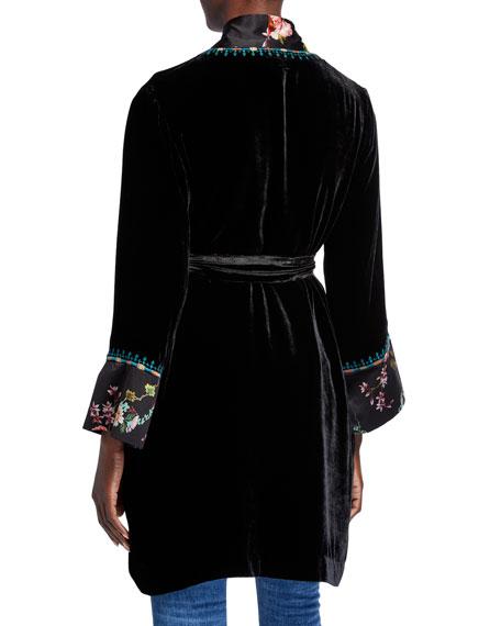 Johnny Was Velvet & Floral Print Belted Kimono Jacket