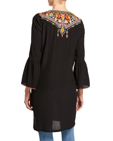 Johnny Was Plus Size Clansy Flare-Sleeve Silk Tunic with Embroidery