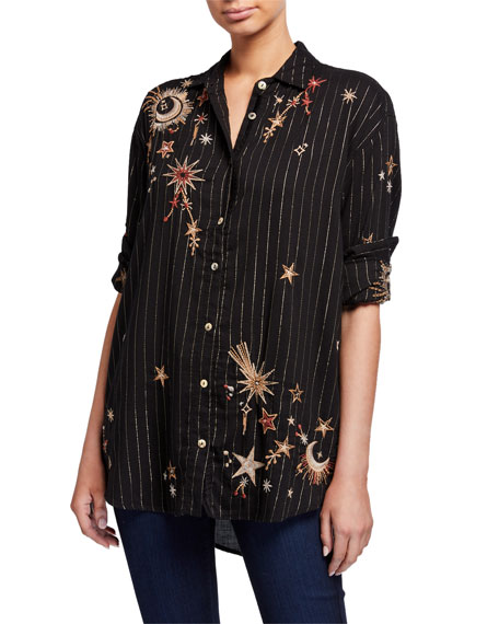 Johnny Was Teleseto Striped Oversized Shirt with Celestial Embroidery