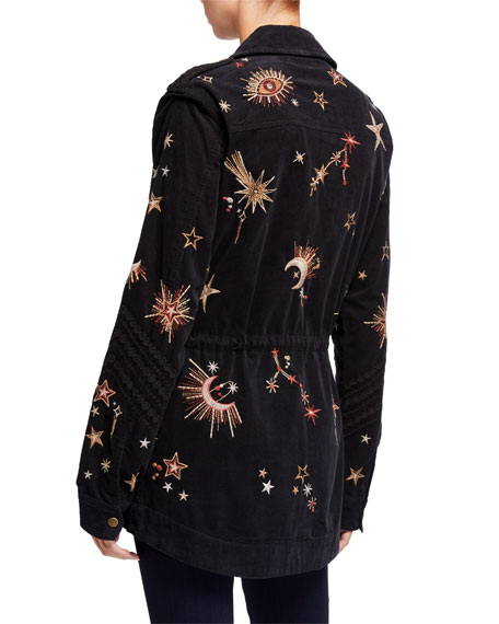 Johnny Was Teleseto Baby Celestial Embroidered Drawstring Military Jacket