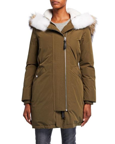 Derek Lam 10 Crosby Two-Zip Detachable Fur-Trim Anorak Coat