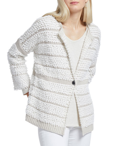 NIC+ZOE Loop Up Textured One-Button Cardigan