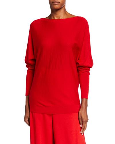 Bateau-Neck Italian Merino Wool/Silk Dolman Sweater