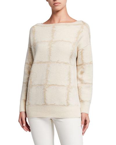 Bateau-Neck Cashmere Jacquard Sweater