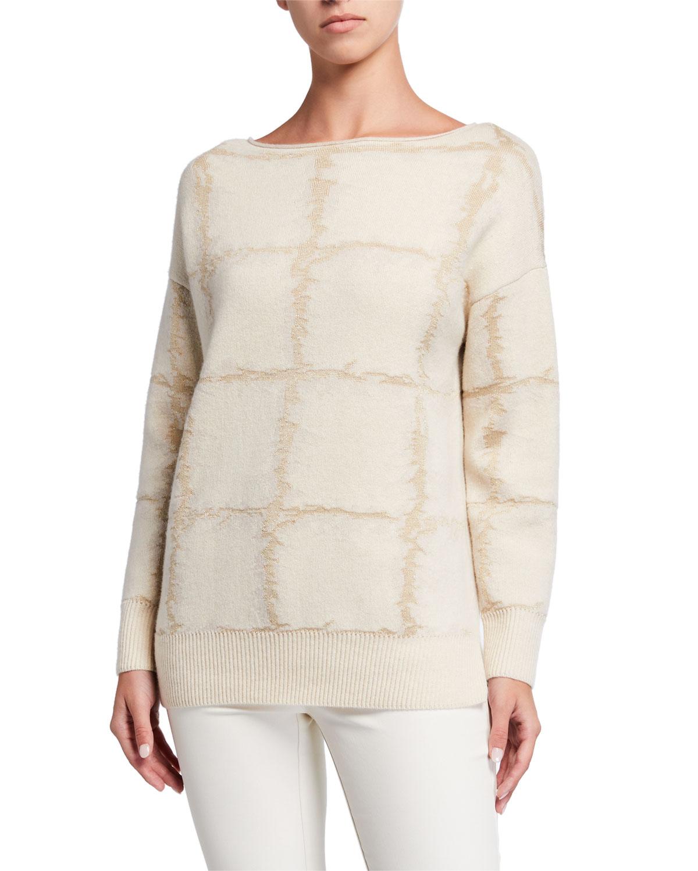 Bateau Neck Cashmere Jacquard Sweater by Lafayette 148 New York