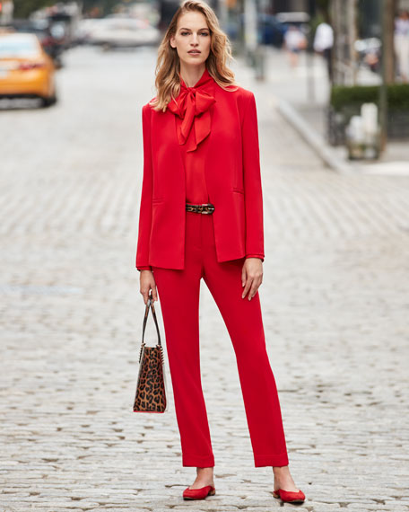 Lafayette 148 New York Genevieve Tie-Neck Silk Double Georgette Blouse