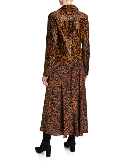 Lafayette 148 New York Bernice Cheetah Calf Hair Moto Jacket