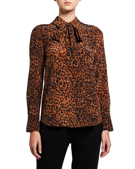 Image 2 of 3: Lafayette 148 New York Diana Leopard Printed Silk Tie-Neck Blouse