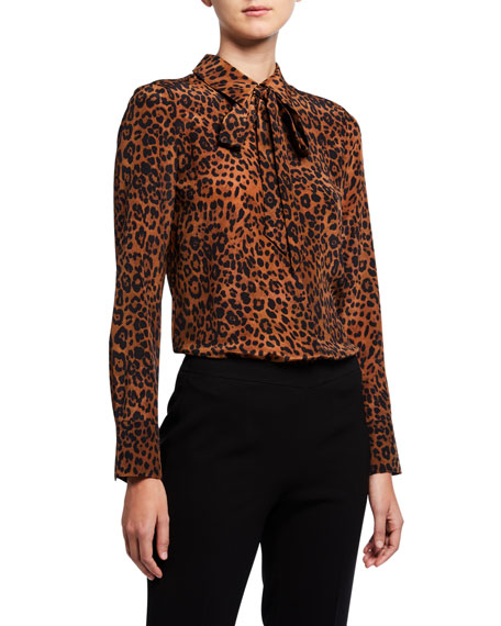 Image 1 of 3: Lafayette 148 New York Diana Leopard Printed Silk Tie-Neck Blouse
