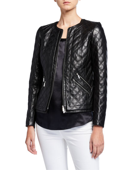Lafayette 148 New York Tanner Plonge Lambskin Leather Quilted Jacket