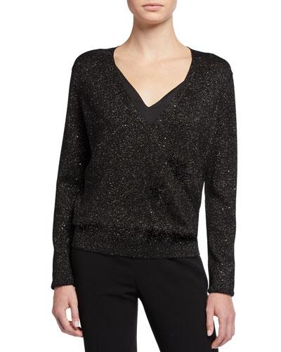 Sequin Metallic V-Neck Sweater