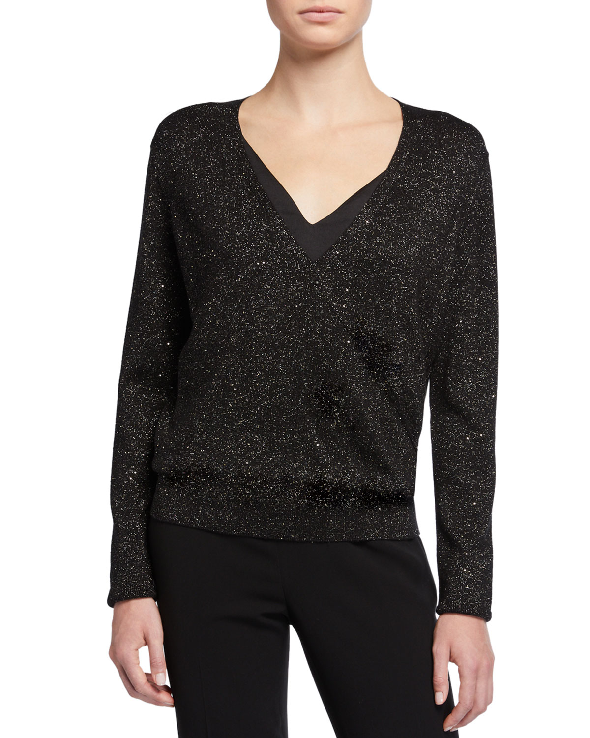 Sequin Metallic V Neck Sweater by Lafayette 148 New York