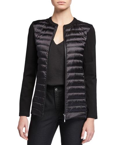 Maddox Satin Tech Zip-Front Jacket w/ Combo