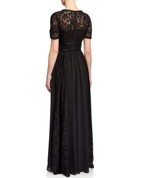 Image 2 of 2: Aidan Mattox Beaded Bodice A-Line Gown with Lace Pleated Skirt