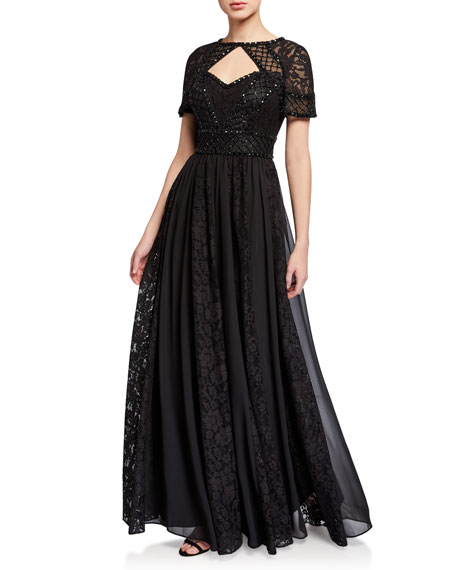 Image 1 of 2: Aidan Mattox Beaded Bodice A-Line Gown with Lace Pleated Skirt