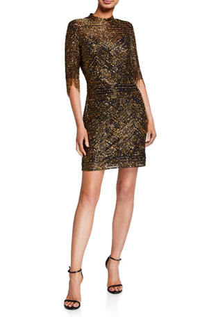 Aidan Mattox Fully Beaded Fringed Elbow-Sleeve Short Cocktail Dress