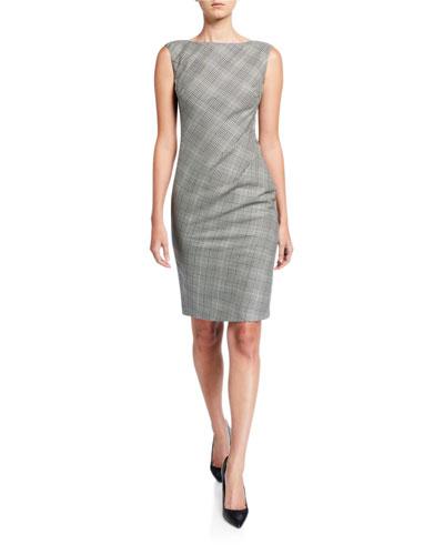 Della Houndstooth Plaid Sleeveless Sheath Dress