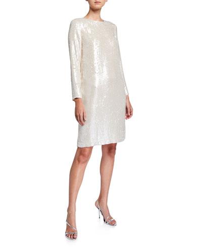 Bonnie Spectrum Sequins Long-Sleeve Shift Dress