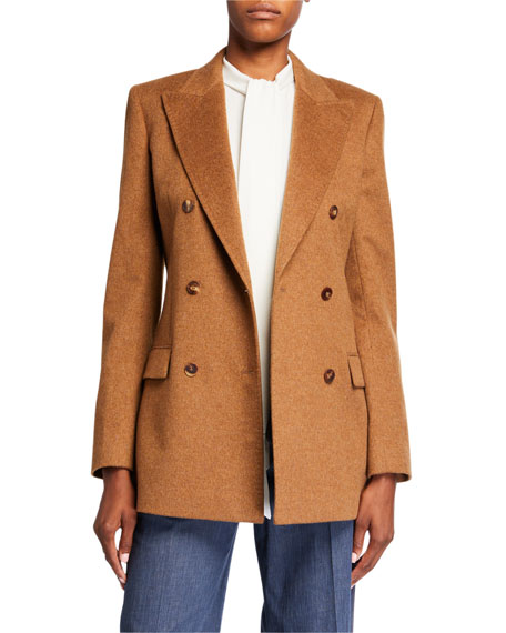 Lafayette 148 New York Saxon Double Breasted Loro Piana Melange Cashmere Jacket