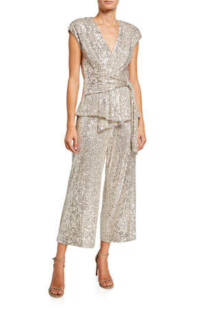Jay Godfrey Susie Sequin Mesh Wrap Front Tie-Waist Crop Jumpsuit