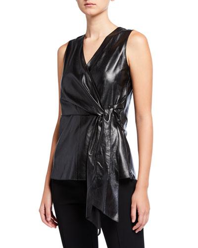 Olivia Sleeveless Supple Napa Leather Blouse