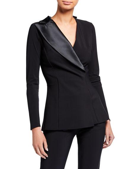 Chiara Boni La Petite Robe Hedvig Asymmetric Satin Collar Long-Sleeve Top