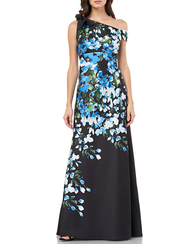 Floral Mikado One-Shoulder Column Gown with Tie Shoulder