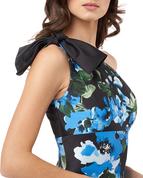 Carmen Marc Valvo Infusion Floral Mikado One-Shoulder Column Gown with Tie Shoulder