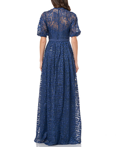Carmen Marc Valvo Infusion Button-Front Puff-Sleeve 3D Novelty A-Line Gown