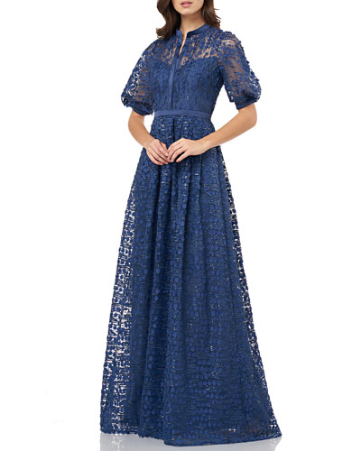 Button-Front Puff-Sleeve 3D Novelty A-Line Gown