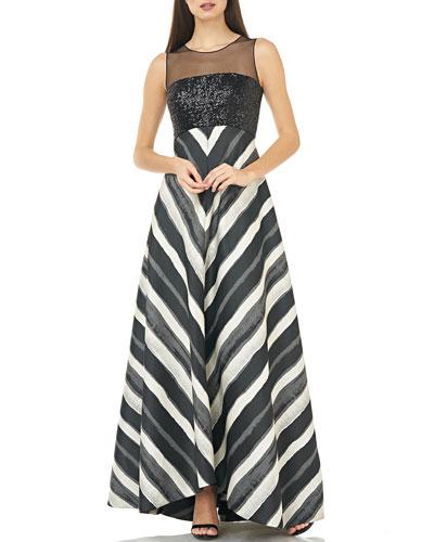 Sleeveless Mesh Illusion & Sequin Bodice Gown w/ Chevron Striped Skirt
