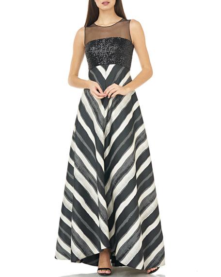 Carmen Marc Valvo Infusion Sleeveless Mesh Illusion & Sequin Bodice Gown w/ Chevron Striped Skirt