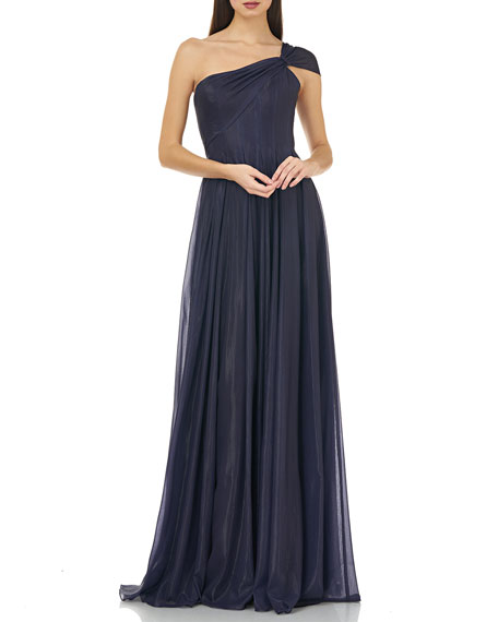 Carmen Marc Valvo Infusion One-Shoulder Sparkle Chiffon Gown with Shirred Skirt