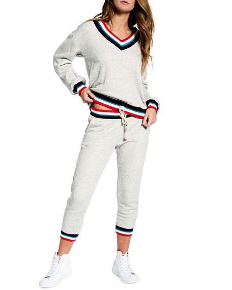 Sol Angeles Sol Flag Roma V-Neck Striped-Trim Pullover Sweater
