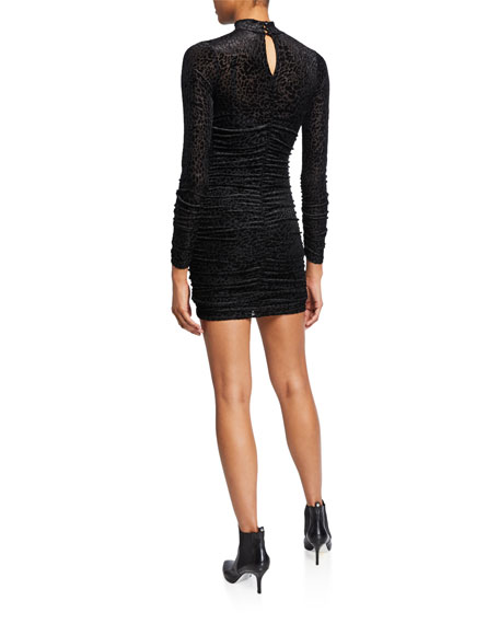 Likely Wylie Ruched Leopard Burnout Mini Dress