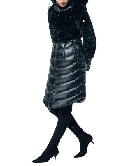 SNOWMAN New York Finale Faux Fur Down-Fill Combo Long Coat