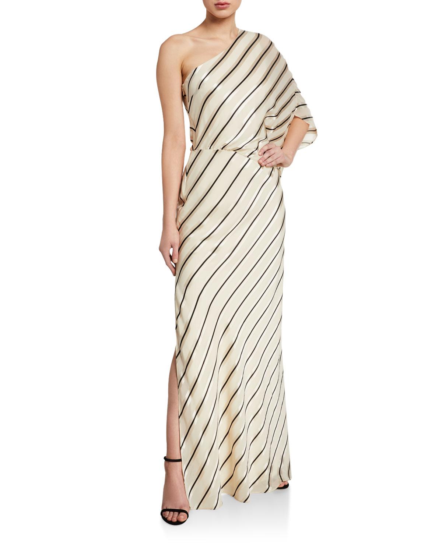Halston One-Shoulder Asymmetric Stripe Gown