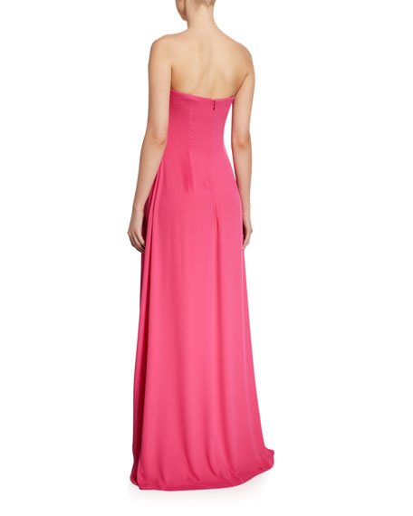 Image 2 of 2: Halston Strapless Draped Overlay Jumpsuit
