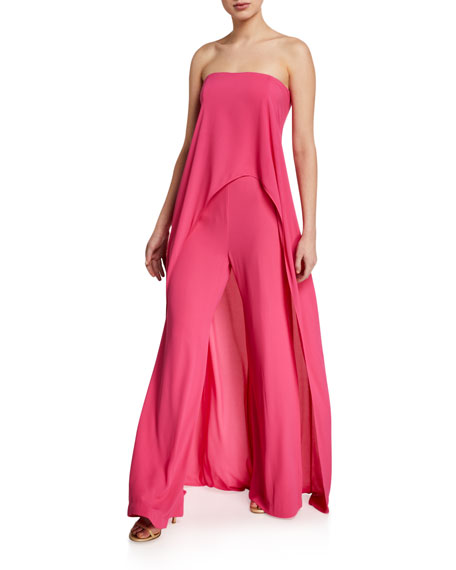 Image 1 of 2: Halston Strapless Draped Overlay Jumpsuit