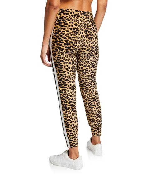 Norma Kamali Leopard-Print Side Stripe Jogger Pants