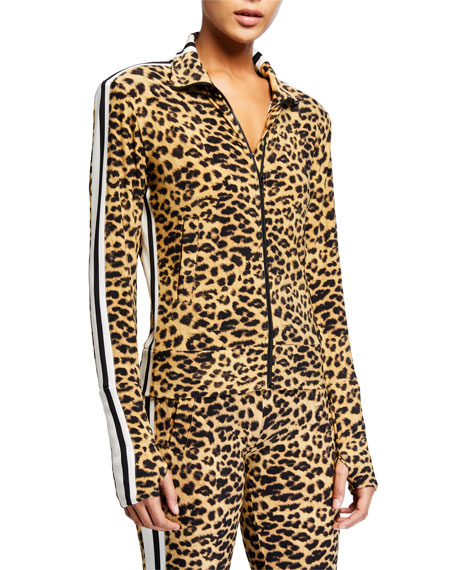 Image 2 of 3: Norma Kamali Leopard-Print Side Stripe Turtleneck Jacket