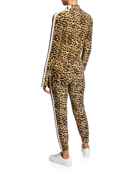 Image 3 of 3: Norma Kamali Leopard-Print Side Stripe Turtleneck Jacket