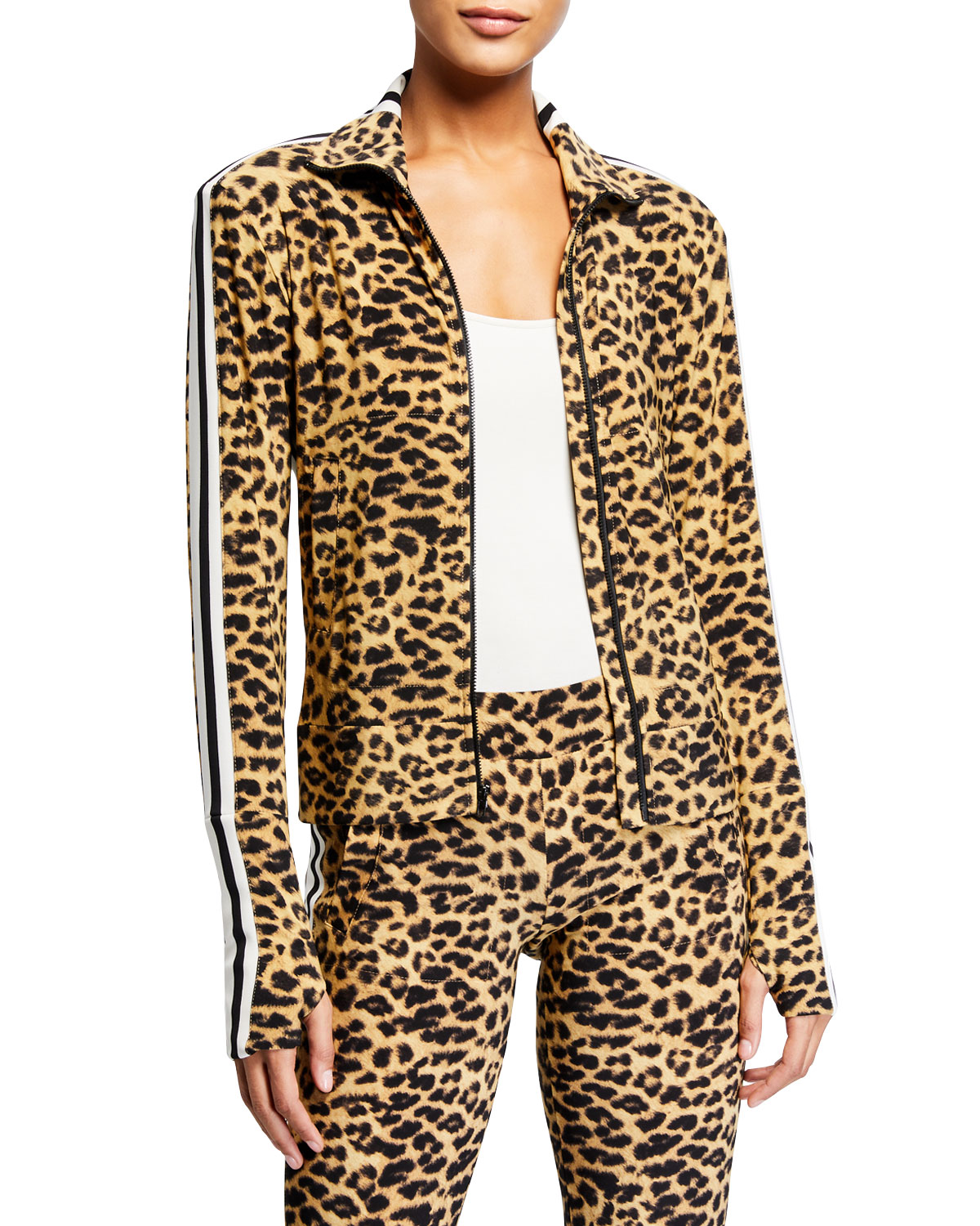Norma Kamali Leopard-Print Side Stripe Turtleneck Jacket