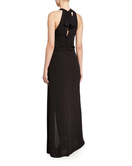 Halston Asymmetric Draped High-Low Halter Gown