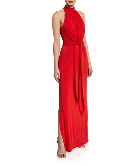 Halston Mock-Neck Jersey Halter Gown