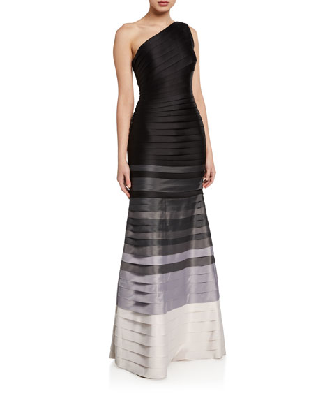 Halston OMBRE STRIP ONE-SHOULDER MERMAID GOWN