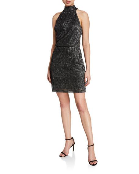Halston Metallic Knit Halter Dress